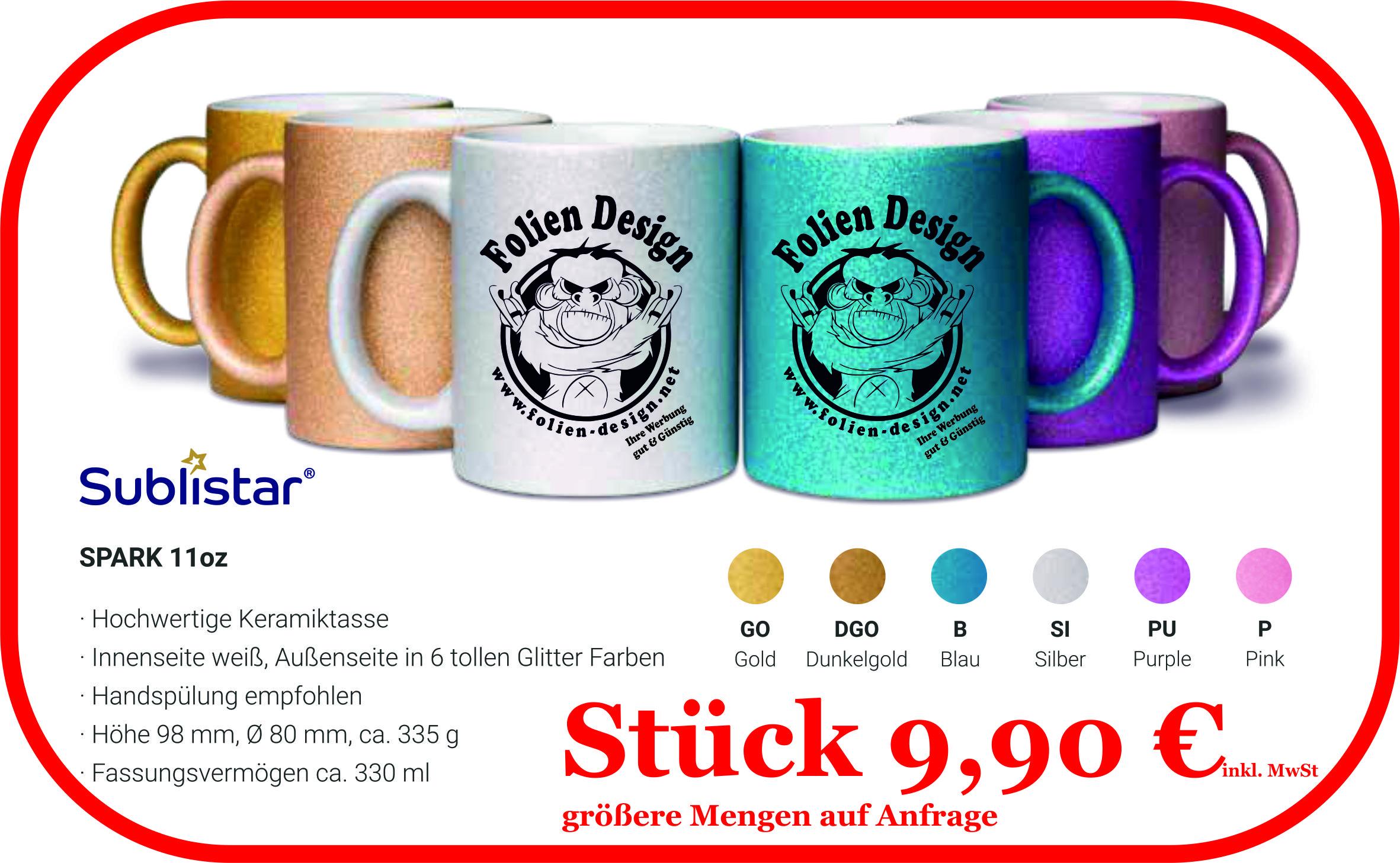 Keramiktasse 11oz Glitzer in 6 Farben