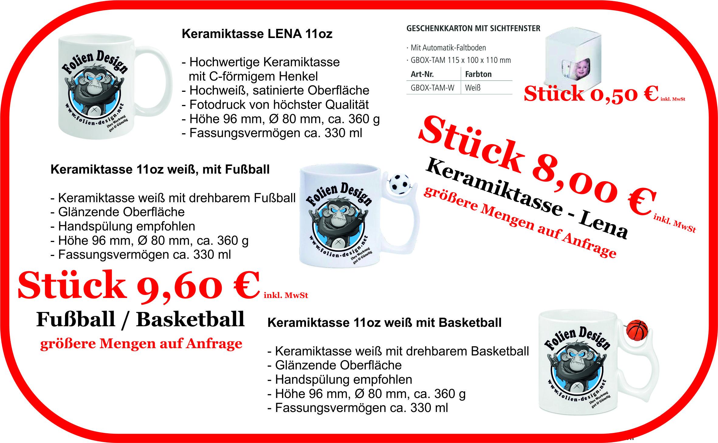 Keramiktasse 11oz Lena & Sport Tasse